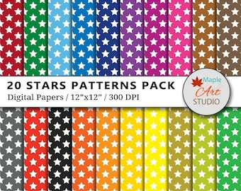 Stars Digital Paper Pack, Rainbow Star Printable, Scrapbook Paper, Stars Backgrounds, Scrapbooking, Twinkle Stars, Commercial Use, D001