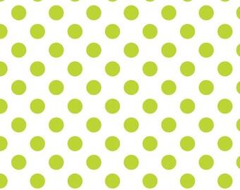 Riley Blake ~ Lime Polkadot Polka Dot on White ~ Woven Cotton by the Yard