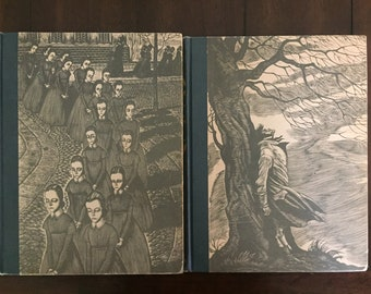 Jane Eyre by Charlotte Bronte & Wuthering Heights by Emily Bronte, vintage 1943 slipcased set illustrated by Fritz Eichenberg