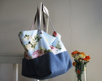Reversible Slouchy Tote in Blue Colors XL with Leather Straps