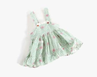 Vintage 50s Girl's Pinafore / 1950s Little Girl's Geometric Print Cotton Dress 2T