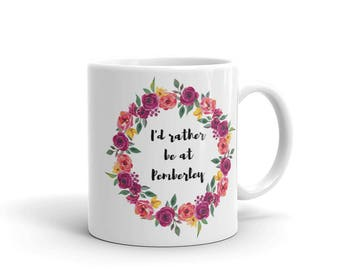 Coffee Mug, Mr Darcy and Lizzie Bennet I'd Rather be at Pemberley Jane Austen Gift for Book Lover Mugs, Classic Literature Tea Mug