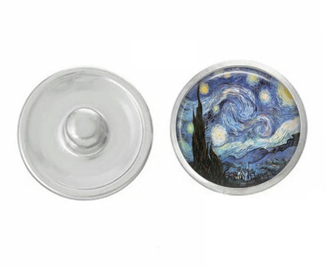 Van Gogh Starry Night Snap - Pair with our Base Pieces - Compatiable with GingerSnaps and Magnolia and Vine Pieces - HandPressed Snaps