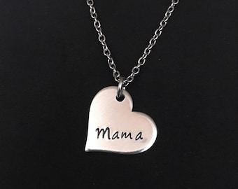 Mama Necklace - Heart Necklace - Mother's Jewelry - New Mom Gift - Custom - Mommy Necklace - Mother's Day Gift - Sentimental - Momma Jewelry