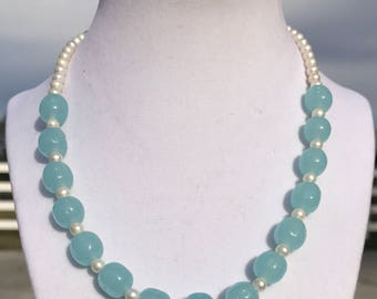 Vintage Blue Glass and Pearl Necklace