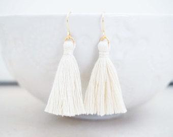 Cream White and Gold Tassel Earrings