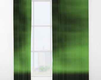 Green Blurred Sky Curtain, Window Curtains, Green Curtains, Green Decor, Green Drapes, Living Room Curtains, Bedroom Curtains, Printed
