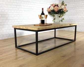 Coffee table etsy industrial coffee table solid wood vintage reclaimed rustic farmhouse style plank top metal steel chunky handmade in britain free delivery keyboard keysfo Images