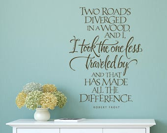 Lovely I Took The Road Less Traveled Quote By Robert Frost   Inspirational Quote  Wall Decal