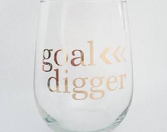 Stemless Wine Glass - Goal Digger - Gold Lettering - Grad Gift - Boss Babe - Girl Boss - Wine Glass - Water Glass