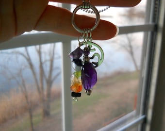 Cluster Charms Pendant w/ Deep Violet Amethyst and Chakra Gemstones and Om Charm / Chakra Jewelry / Yoga Jewelry / Healing Crystals
