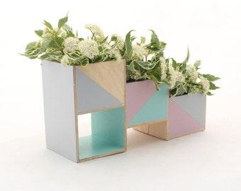 Wooden herb planter, Pastel Mint Gray Pink Handpainted Windowsill Flowerpot, Succulent Planter, Box for Herbs, Pastel flower plant garden