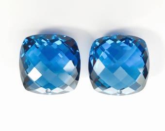 FINAL sale Beautiful pair swiss blue topaz labstone drilled, size 15x15 mm