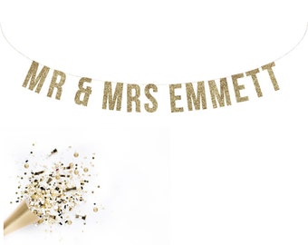 Custom MR & MRS Wedding Sign. Wedding Glitter Garland. Reception Banner. Custom Wedding Garland