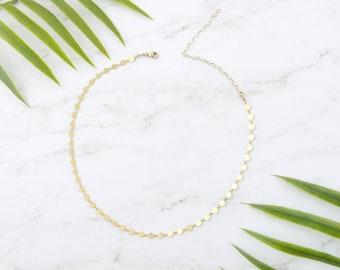 Coin Choker Necklace, Gold choker, Rose Gold Disc Choker, Silver Choker, Sequin Coin chain,