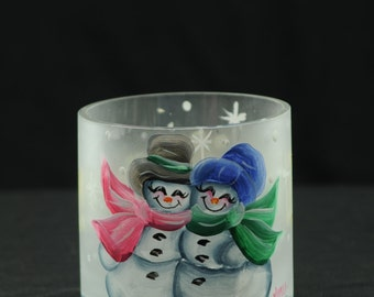 """4 x 4 inch Glass Cylinder Candle Holder / Candy Dish / Snowman Couple """"Let It Snow"""""""