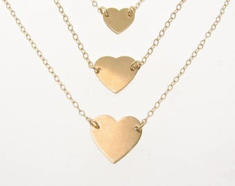 Gold Heart Necklace - Choose Your Size - 14K Yellow, White, Or Rose Gold - Solitary Heart Necklace, Ultra Feminine, As Seen On Selena Gomez