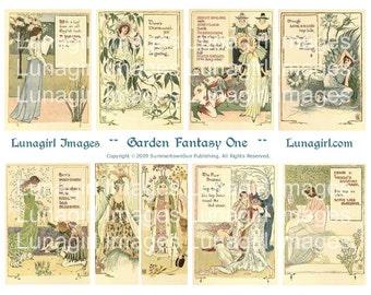 GARDEN FANTASY #1 digital collage sheet, flower fairies, Victorian Art Nouveau Fairy Tales, vintage images ephemera, Walter Crane, DOWNLOAD