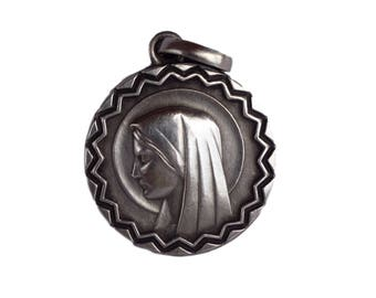 Our Lady Virgin Mary Portrait -  Antique French Silver-plate Medal Pendant Charm  - Religious Jewelry - Catholic Communion Gift