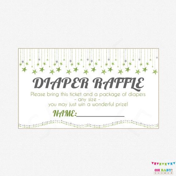 Gender Neutral Baby Shower Diaper Raffle Tickets Diaper