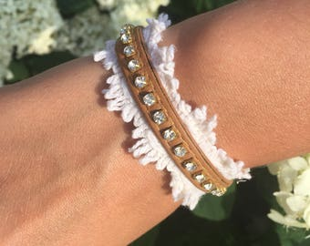 Bracelet with lace and rhinestones