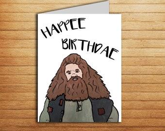 Hagrid Birthday Card Harry Potter Card Funny Birthday Card Printable Happy Birthday gift for Boyfriend Girlfriend Hogwarts Happee Birthdae