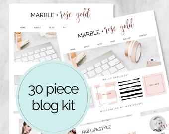 30 pièce Web / Blog Kit / Branding Kit / Kit Blogger / boutons sociaux / onglets de la page d'accueil / Rose or / marbre / Blog Design Kit / Blog graphique