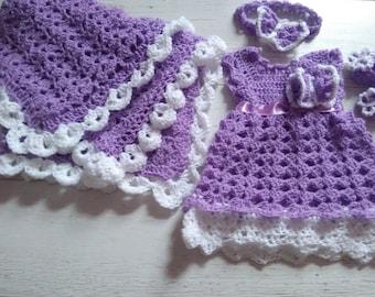Purple Newborn Girl Coming Home Outfit, Crochet Baby Girl Clothes, Baby Headband ,newborn Girl Outfit, Crochet Photo Prop, Take Home Outfit