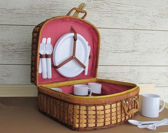 Vintage Picnic Basket - Red/White Gingham