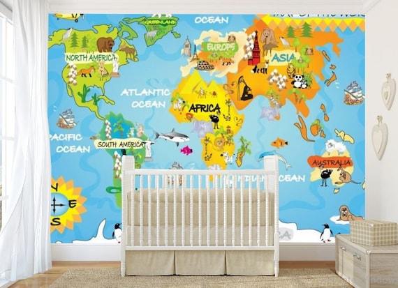 Kids world map wall mural children world map wallpaper kids like this item gumiabroncs Choice Image