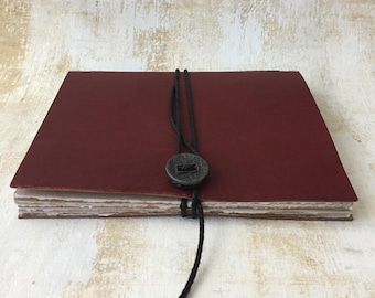 Red Leather Journal, sketchbook, blank book