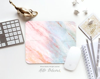 Pink Marble Mousepad Marbled Mousepad Mouse Mat Modern Mouse Pad Office Mousemat Rectangular Mousemat Blue Marble Print Mousepad Round 85.