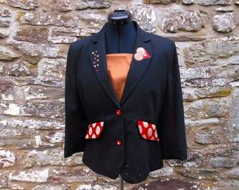 Upcycled black peplum jacket. Restyled occasion jacket, sequin jacket, applique jacket. Restyled eco chic, OOAK.