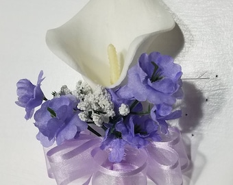 Ivory Lavender Calla Lily Corsage or Boutonniere
