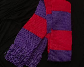Red and Purple Striped Scarf