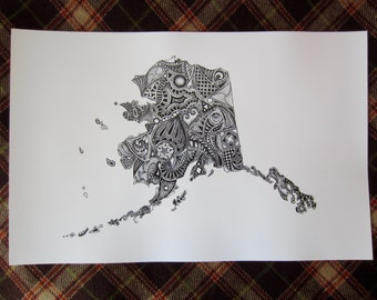 Alaska Art Print/Alaska State Outline