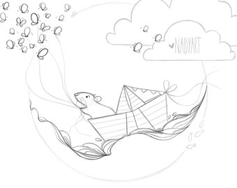 Coloring Page - Travel Adventure in a Paper Boat - Endearing coloring book page for both children and grown ups!