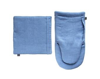 Blue kitchen mitt Pot holder set, Blue linen potholder, Blue linen mitt, Blue oven mitt set, Blue kitchen mitt set, Kitchen set for cooking