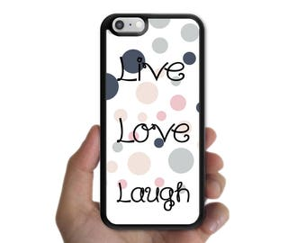 Phone Case for iPhone X Case, iPhone 8 plus Case, iPhone 7 case, iPhone 7 Plus Case Live Love Laugh dot dot circle