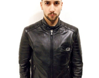 """VIETRI LEATHER - Man's jacket """"Mod. TONY"""" in genuine nappa leather black Made In Italy"""