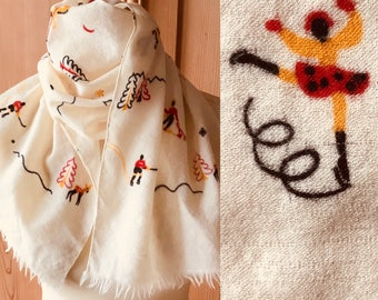 1940s wool winter themed novelty scarf