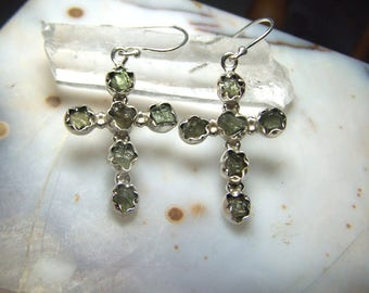 Moldavite cross earrings - genuine natural tektite crystal stone raw rough - solid 925 Sterling Silver - green meteorite french hook Ci6y