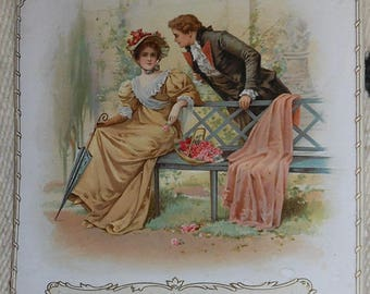 vintage 1898 shape calendar color lithograph couple chatting red roses the youths companion