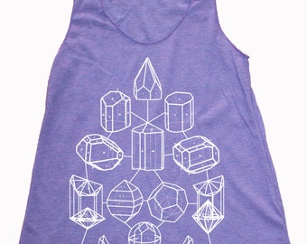 Women's CRYSTAL MATH  Screen Printed Tank Top Crystal Power Sacred Geometry Racerback Shirt