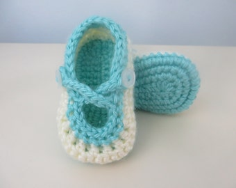 Hand Crocheted Baby Girl Shoes Slippers Cross Strap Cream Teal 0-3 months 3.5 inch / 9cm sole New Baby Baby Shower Gift Soft Structured