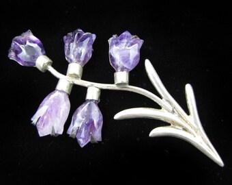 Beautiful Mexican Sterling Silver Amethyst Flower Brooch