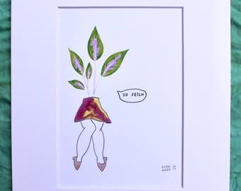 Rubber Plant watercolor illustration