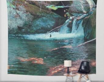 wall tapestry, wall hanging, waterfall, nature theme, bohemian, wanderlust, zen, dreamy, brook, three sizes