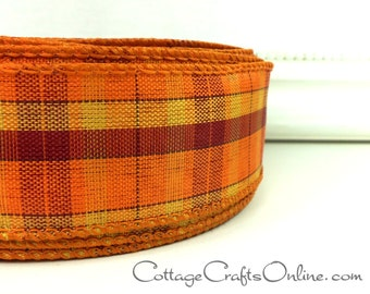 "Fall Wired Ribbon, 1 1/2""  Orange, Cranberry, Gold Plaid  - THREE YARDS -  Offray ""Festival""  Autumn, Thanksgiving Tartan Wire Edged Ribbon"