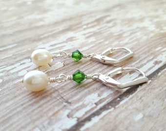 White Freshwater Pearl with Green Swarovski Crystals - White Pearl Drop Earrings - Green Crystal Dangle Earrings - Dainty Earrings - Formal
